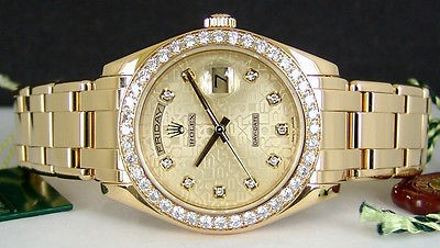 ROLEX Mens 18kt Gold Masterpiece Champagne Jubilee Diamond Dial 18948
