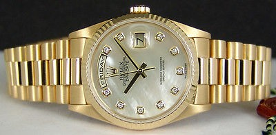 ROLEX - Mens 36mm 18kt Gold Day-Date PRESIDENT MOP Diamond Dial - 18238