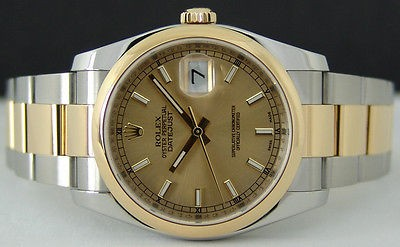 ROLEX - Mens 18kt Gold & Stainless DateJust CHAMPAGNE Index 116203 SANT BLANC
