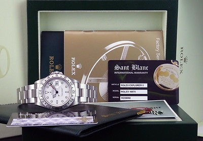 "ROLEX - 40mm white Dial SS Explorer II ""M"" Serial Model 16570 SANT BLANC"