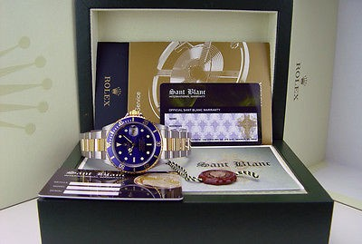 ROLEX - Mens 18kt Gold & SS Submariner Blue Index Dial - 16613 SANT BLANC