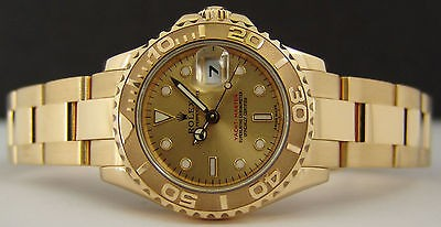 ROLEX Ladies 18kt Gold Champagne YachtMaster 169628 SANT BLANC