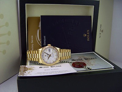 ROLEX - 36mm 18kt Gold Day-Date President White Index 118238 SANT BLANC
