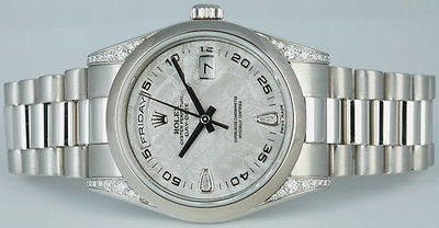 ROLEX Mens Platinum Day-Date President Meteorite Diamond - 118296