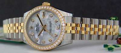 ROLEX - 2013 Never Worn Midsize 18kt Gold & Stainless Steel Diamond PEARL 178383