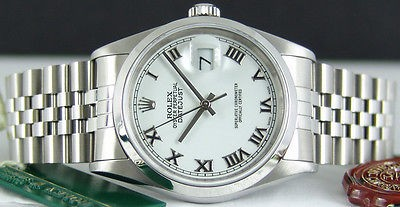 ROLEX - 36mm Stainless Steel Mens DateJust White ROMAN Dial - 16200 SANT BLANC