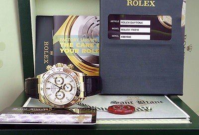 ROLEX - Daytona 18kt Yellow Gold White Index Dial on Strap - 116518 - SANT BLANC