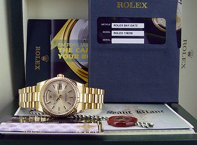 ROLEX - 18kt Gold Day-Date President 36mm Men's Silver Stick 118238 - SANT BLANC