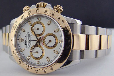 ROLEX - 18kt Gold Stainless DAYTONA WHITE Index Dial Model 116523 SANT BLANC