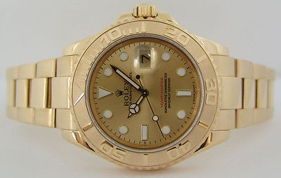 ROLEX - Mens 18kt Gold YachtMaster Champagne Dial 16628 SANT BLANC