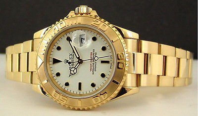 ROLEX Ladies 18kt Gold YachtMaster White Dial - 69628 SANT BLANC