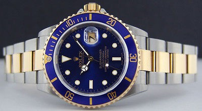ROLEX - 40mm 18kt Gold & Stainless SUBMARINER Blue Dial - 16613 SANT BLANC