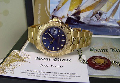 ROLEX - 40mm 18kt Yellow Gold YachtMaster - Blue Index Dial - 16628 SANT BLANC