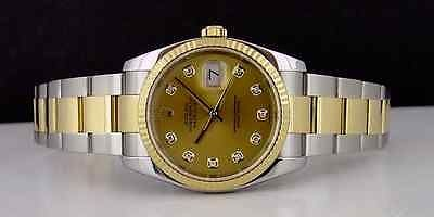 ROLEX - 18kt Gold & Stainless Steel Mens 36mm DateJust Champagne Diamond 116233