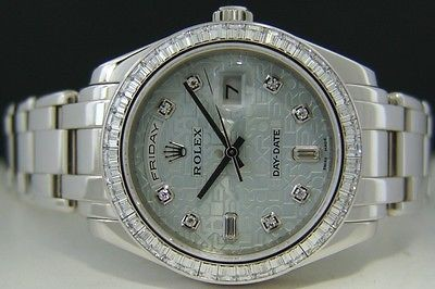 ROLEX - Mens 39mm Platinum Masterpiece GLACIER Diamond Jubilee Dial - 18956