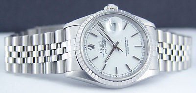 ROLEX - Stainless Mens 36mm DateJust White Stick Dial - 16220 SANT BLANC