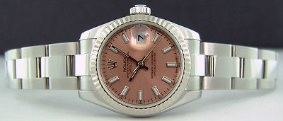 ROLEX -Ladies 26mm White Gold & SS Datejust Rose Index Dial - 179174 SANT BLANC