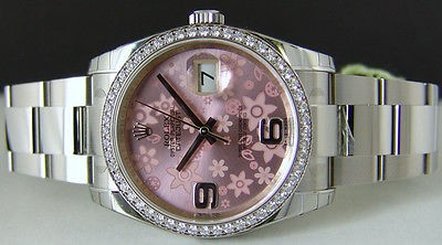 ROLEX - 18kt WG & SS 36mm DATEJUST Pink Floral Dial - 116244 - SANT BLANC