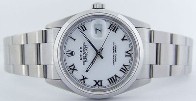 ROLEX - Mens Stainless Steel DateJust White Roman Dial - 16200 SANT BLANC