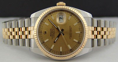 ROLEX - Mens 36mm DateJust 18kt Gold Stainless Champagne Index 116233 SANT BLANC