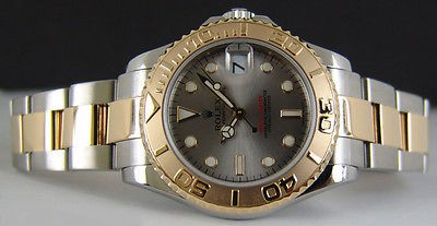 ROLEX 18kt Gold and Stainless Steel Mid-Size 35mm Model Yacht-Master Slate Index 168623