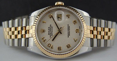 ROLEX - Mens 18kt Gold & SS 36mm DateJust White Arabic Jubilee 116233 SANT BLANC