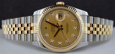 ROLEX - 18kt Gold & Stainless Mens 36mm DateJust Champagne Diamond Dial - 116233