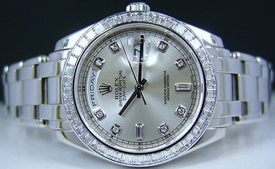 ROLEX - Mens Platinum MASTERPIECE Silver Diamond PearlMaster - Model 18956