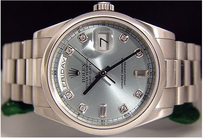 ROLEX - PLATINUM Men's Glacier Ice Blue Diamond President 118206