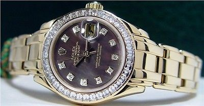 ROLEX - 29mm Gold Ladies Baguette PearlMaster Mother of Pearl Diamond 80308