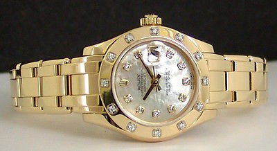 ROLEX - 29mm Ladies 18kt Gold MOP Diamond Pearlmaster - 80318 SANT BLANC