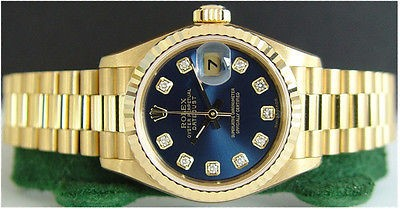 ROLEX Ladies 18kt Gold Blue Diamond PRESIDENT 79178 SANT BLANC