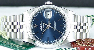 ROLEX - Mens SS 36mm DATEJUST Blue Index Dial - 16200 SANT BLANC