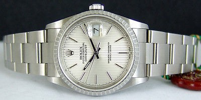 ROLEX - Mens 36mm SS DateJust Silver Tapestery Dial - 16220 SANT BLANC