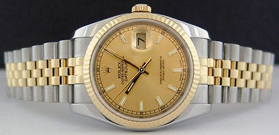 ROLEX - DateJust Mens 18kt Gold & SS - Champagne Index Dial - 116233 SANT BLANC