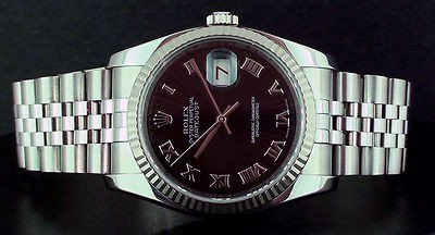 ROLEX Mens 18kt White Gold & SS DateJust Black Sunbeam Roman - 116234 SANT BLANC