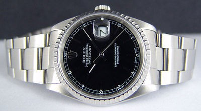 ROLEX - Mens Stainless 36mm SS DateJust Black Stick Dial - 16220 - SANT BLANC
