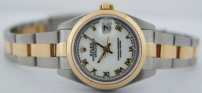 ROLEX - Ladies 26mm 18kt Yellow Gold & SS Date-Just White Roman 69163 SANT BLANC