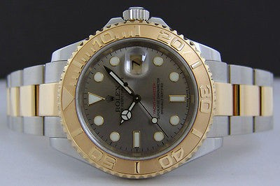 ROLEX Mens 40mm 18kt Gold & Stainless YachtMaster SLATE Dial - 16623 SANT BLANC