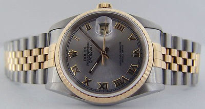ROLEX - Mens 18kt Gold & SS DateJust 36mm Grey Dial - 16233 SANT BLANC
