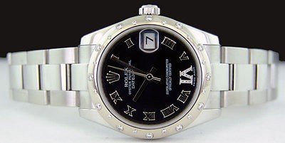 ROLEX - 31mm Stainless/White Gold DATEJUST Black Roman VI Dial 178344 SANT BLANC
