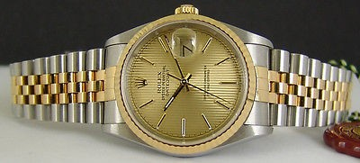 ROLEX - 36mm 18kt Gold & SS Mens DateJust Champagne TAPESTRY 16233 SANT BLANC