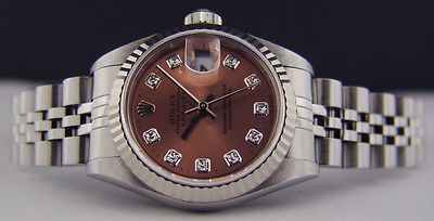 ROLEX Lady 18kt White Gold & Stainless Steel DateJust DIAMOND 79174 SANT BLANC