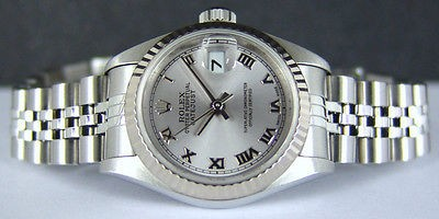 ROLEX Ladies 26mm Datejust 18kt White Gold & SS Rhodium Roman 79174 SANT BLANC