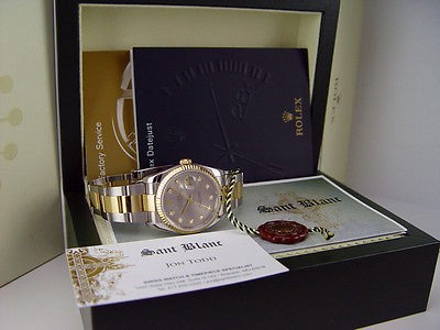 ROLEX - Mens 36mm 18kt GOLD & SS DateJust Slate Grey DIAMOND - 116233 SANT BLANC