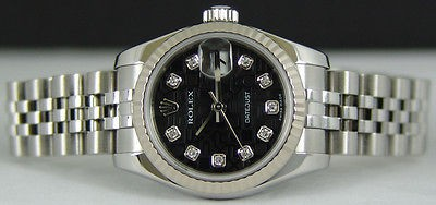 ROLEX Ladies White Gold & SS Datejust Black Diamond JUBILEE 179174 SANT BLANC