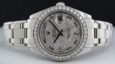 ROLEX - Men's 39mm Platinum Pearlmaster Meteorite Diamond Dial 18946