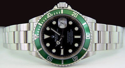 ROLEX - Stainless Steel Submariner Black Dial w/Green Bezel - 16610 SANT BLANC