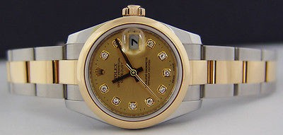 ROLEX - Ladies 18kt Gold & Stainless DateJust Diamond Dial -179163 SANT BLANC