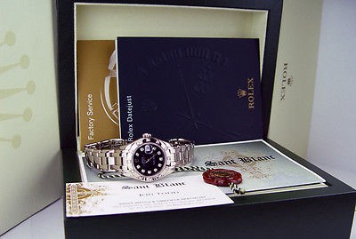 ROLEX - Ladies 18kt White Gold MASTERPIECE Black Diamond Dial - 80319